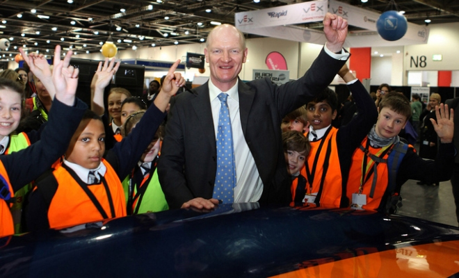 David Willetts MP with kids at the Bloodhound SSC stand at the Big Bang Fair.  Copyright Harry Dalton The Manufacturer