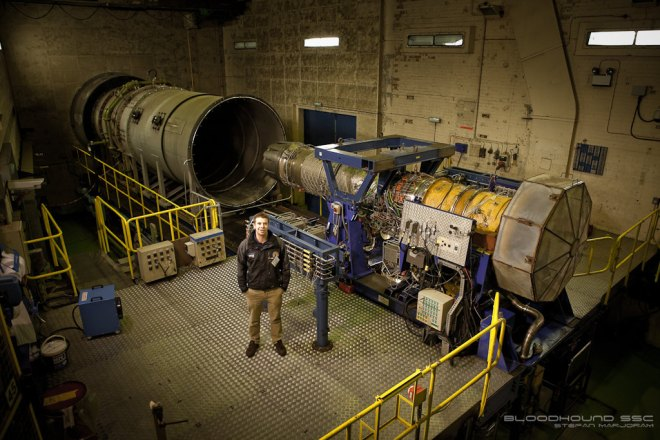 Joe Holdsworth stands next to the EJ200 engine that will be used in the Bloodhound Super Sonic Car. By Stefan Marjoram