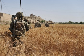 Troops outside the wire patrolling in the heat of Helmand.