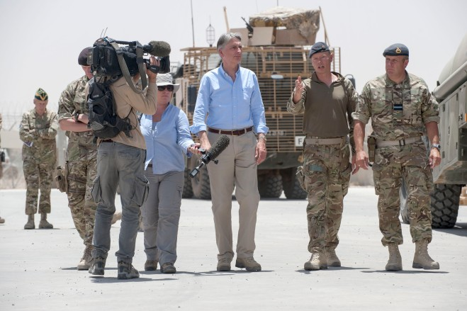 Secretary of State with other film crews
