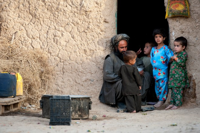 A family in an Afghan compound.