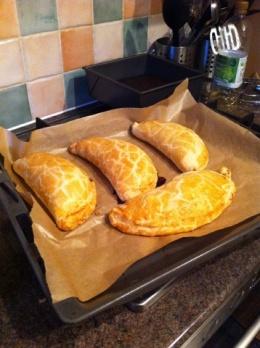Sam's yummy home-made pasties to keep up our morale!