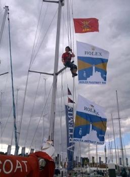 Heidi up the mast.