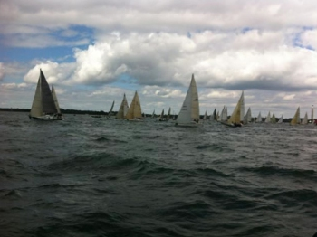 Sunday 11 August: Motoring out displaying storm sails before the start.