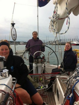 Motoring out of Cowes to start training