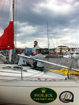 Alongside in Cowes – stickers on ready for the race!