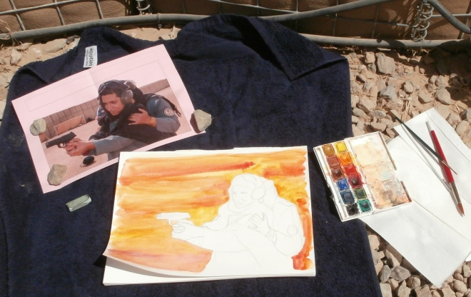 Painting outside with photo reference