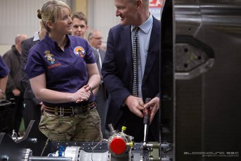REME Corporal Lisah Brooking keeping a keen eye on Minister David Willetts MP. Image by Stephan Marjoram