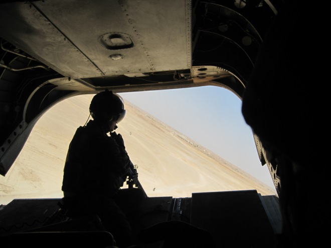 View of the back ramp of the Chinook and beyond