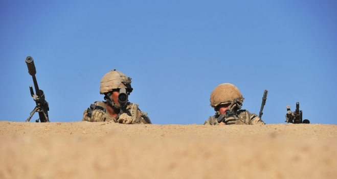 Snipers keep watch over a patrol