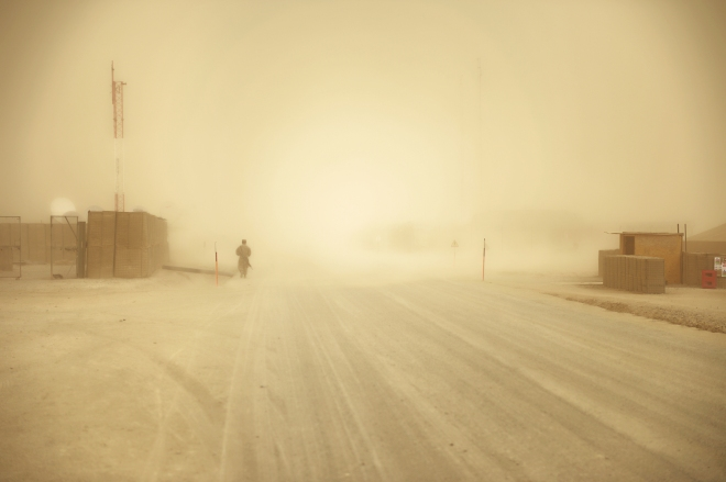 A dust storm sweeps through Bastion