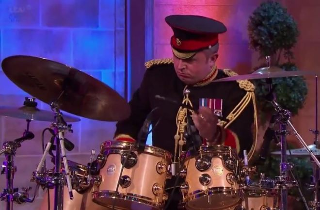 Band Corporal Major Stuart Marsh on the Drum Kit