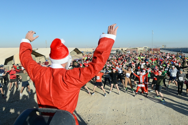 Santa warms up the troops for the Camp Bastion Half Marathon