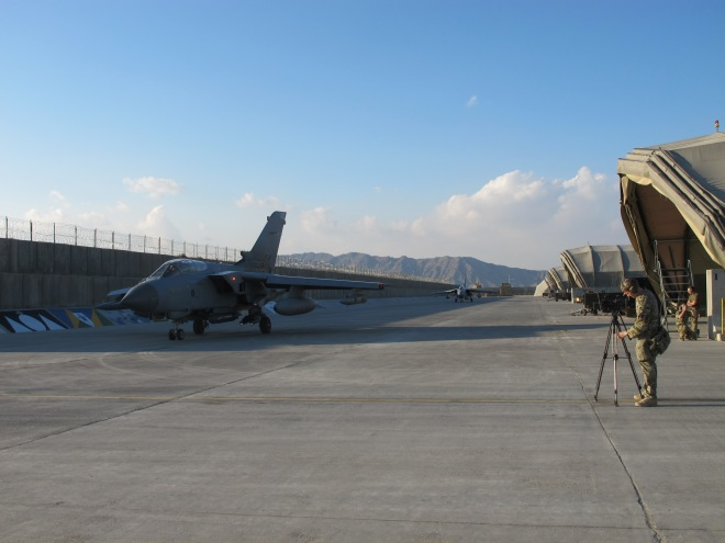 Three Mile Mountain towers over Kandahar Airfield as we carry out the filming