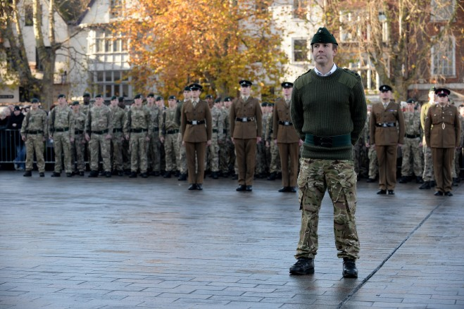 The CO 4 Rifles in front of his Battalion