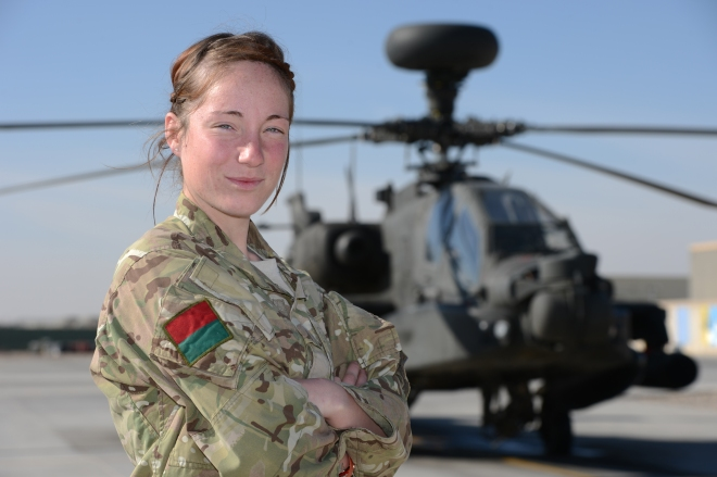 Airtrooper Lauren Morgan is an 'Apache Gunwoman' responsible for re-fueling and  re-arming the aircraft. Photo credit – Sgt Dan Bardsley, RLC
