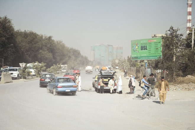 Kabul City and a broadband internet billboard