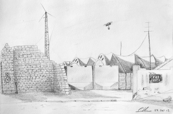 A sketch I did of British Forward Operating Base Price