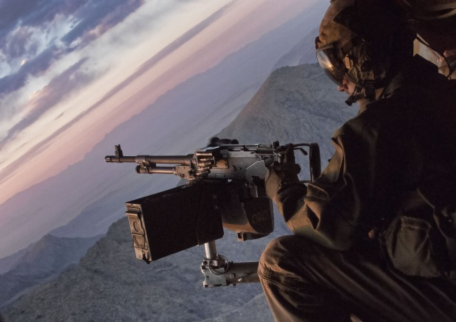 An American Osprey gunner on a flight to Kajaki, which sports some beautiful scenery