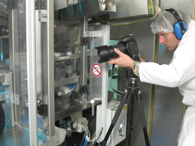 CCT at work capturing footage of the bottling process. Photo credit – Lt Claire Jackson, RLC