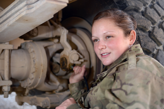 Private Chelsea Herberts is helping with the redeployment by preparing vehicles for their return to the UK. Photo credit – Sgt Dan Bardsley, RLC