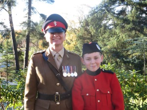 Remembrance parade 2013- with my youngest son Sam