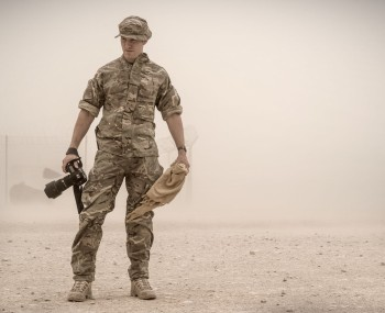 Me in the middle of a sandstorm. Image by Cpl Ross Fernie