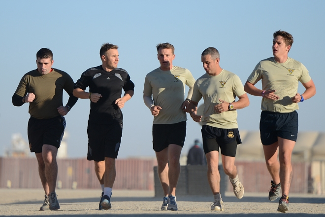 Gary goes for an early morning run with the troops. Sgt Dan Bardsley