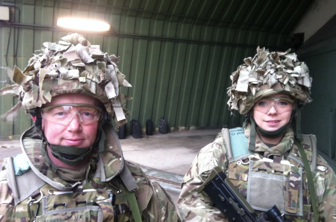 Reservists LCpl Jones and LCpl Molloy on Mission Rehearsal Exercise (MRX).
