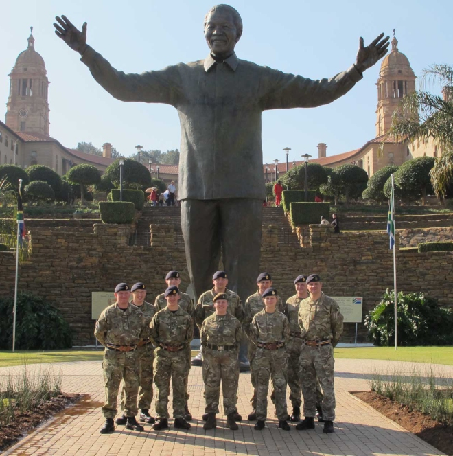 The team with a statue of Nelson Mandela in Johannesburg