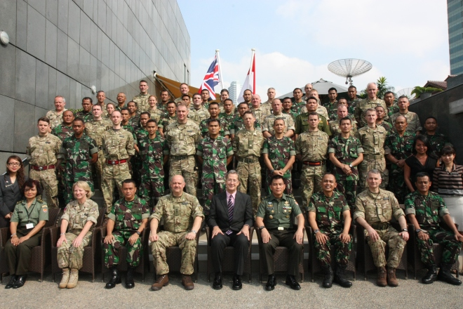 A group photo at the British Embassy, Jakarta, before Exercise Civil Bridge gets underway
