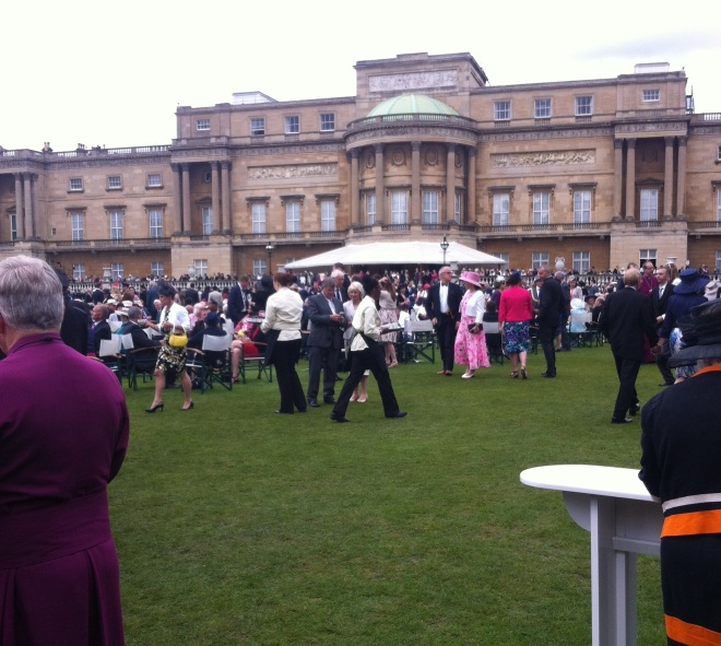 Our view across the lawn to the rear of Buckingham Palace