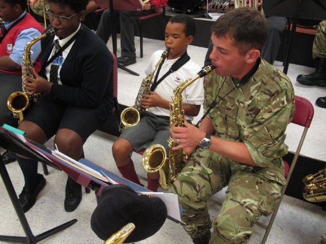 Me working with pupils of the Bermuda Youth Orchestra at Cedarbridge Academy.