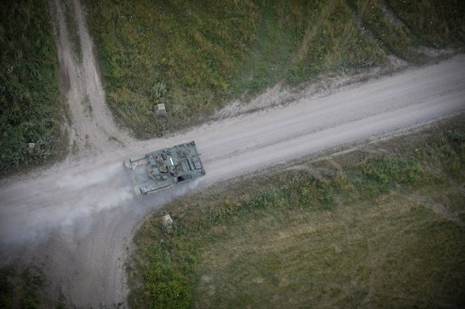 A Warrior Armoured Fighting Vehicle on patrol on Salisbury Plain.