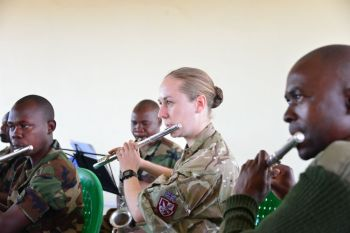 Musn Claire Hutton  with the Malawi Defence Force Band
