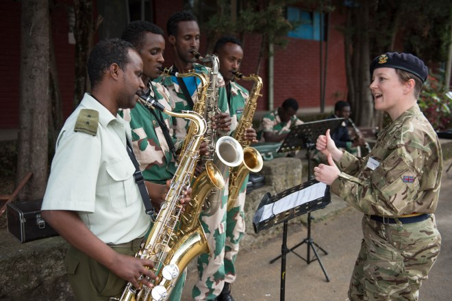 Warrant Officer Class One (Bandmaster) Estelle Adams coaching Ethio-Somali Police musicians