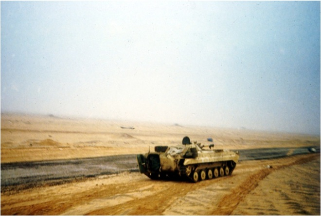 Charge of the Heavy Brigade. In an hour we crossed 40km of Kuwait desert to make the Basra Road by the UN deadline. It was the fastest and longest cavalry charge in history. On the way we passed numerous destroyed Iraqi armoured vehicles. This is an Iraqi APC