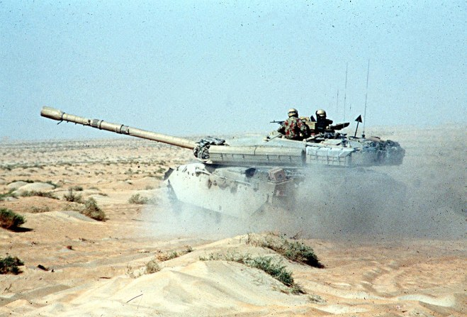 The Gulf War (2 August 1990 Ð 28 February 1991), codenamed Operation Desert Shield (2 August 1990 Ð 17 January 1991) for operations leading to the buildup of troops and defense of Saudi Arabia and Operation Desert Storm (17 January 1991 Ð 28 February 1991) in its combat phase, was a war - in the Persian Gulf region - waged by coalition forces from 34 nations led by the United States against Iraq in response to Iraq's invasion and annexation of Kuwait. The United Kingdom committed the largest contingent of any European state that participated in the war's combat operations. Operation Granby was the code name for the operations in the Persian Gulf. British Army regiments (mainly with the 1st Armoured Division), Royal Air Force squadrons and Royal Navy vessels were mobilized in the Persian Gulf. The Royal Air Force, using various aircraft, operated from airbases in Saudi Arabia. Almost 2,500 armored vehicles and 53,462 troops were shipped for action. Chief Royal Navy vessels deployed to the Persian Gulf included Broadsword-class frigates, and Sheffield-class destroyers, other R.N. and R.F.A. ships were also deployed. The light aircraft carrier HMS Ark Royal was deployed to the Mediterranean Sea. Special operations forces were deployed in the form of several SAS squadrons.