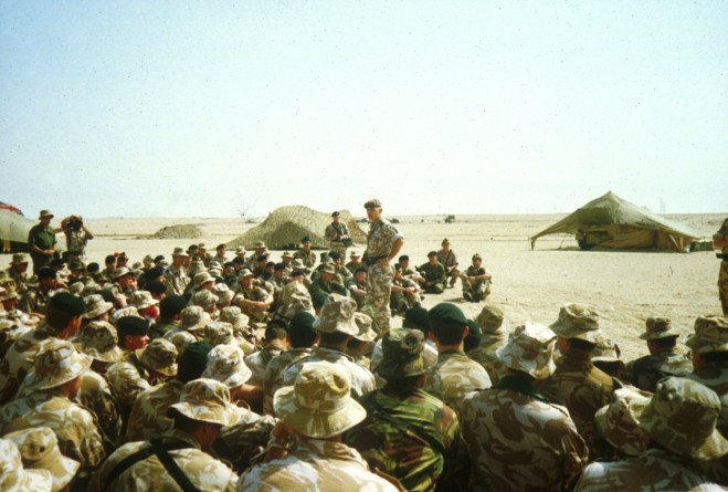 Gen Sir Peter de la Billiere addresses the QRIH Battlegroup after the war.