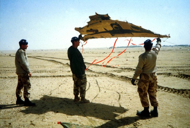 The crew of 42 with their Challenger decoy kite. It flew well in the constant wind
