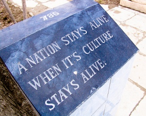 The reason for the preservation of historical artefact is delivered in the poignant plaque outside the National Museum in Kabul. Photo: Courtesy WA Museum