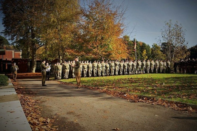 Dettingen Company on parade for Armistice Day